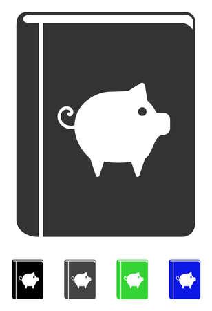Pig handbook flat icon.