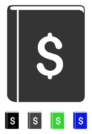 Dollar Book flat vector icon. Dollar Book icon with gray, black, blue, green color versions.