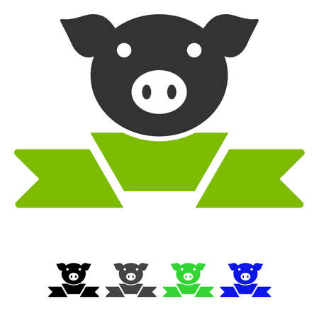 Pork Award Ribbon flat vector pictograph. Pork Award Ribbon icon with gray, black, blue, green color versions.