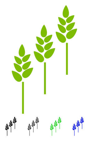 Wheat Plants flat vector pictograph. Wheat Plants icon with gray, black, blue, green color versions. Illustration