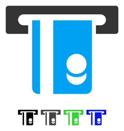 automated: Automated Banking Service flat vector pictogram. Automated Banking Service icon with gray, black, blue, green color versions.
