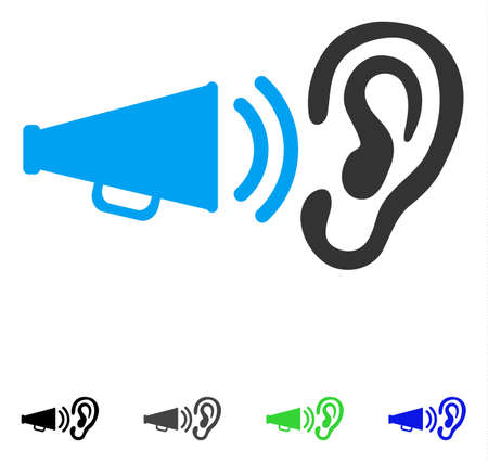 Listen Megaphone News flat vector pictograph. Colored listen megaphone news gray, black, blue, green icon variants. Flat icons for application design.