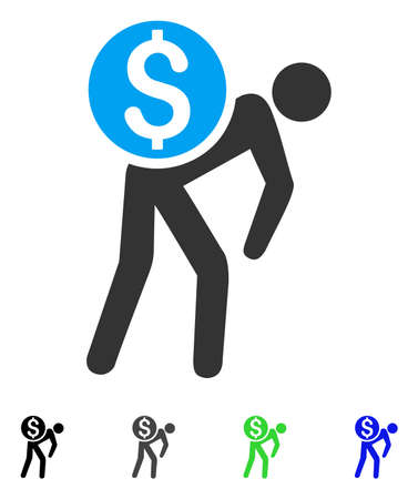 gray: Money Courier flat vector icon. Colored money courier gray, black, blue, green pictogram variants. Flat icons for application design.