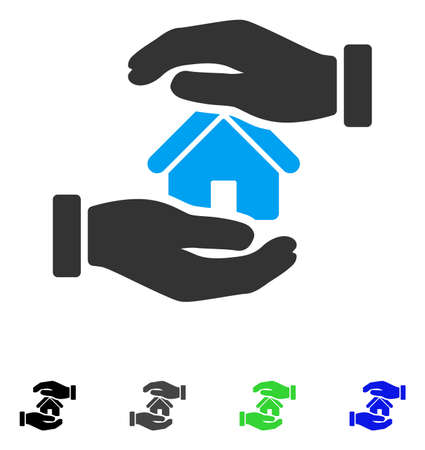 Realty Insurance Hands flat vector pictogram. Colored realty insurance hands gray, black, blue, green pictogram versions. Flat icons for web design.