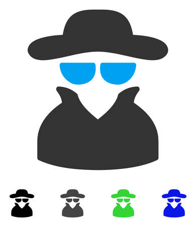 Spy flat vector illustration. Colored spy gray, black, blue, green pictogram versions. Flat icons for application design.