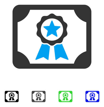 attest: Certificate flat vector illustration. Colored certificate gray, black, blue, green pictogram variants. Flat icons for web design.