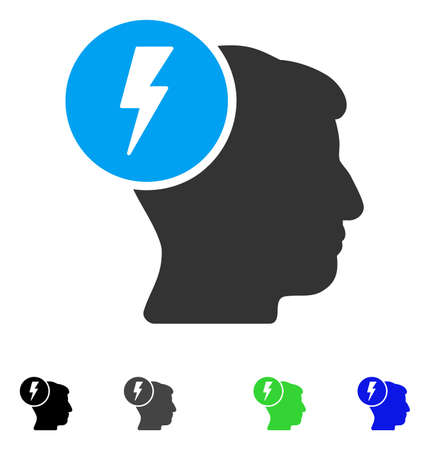 ruch: Brain Electricity flat vector pictograph. Flat icons on a white background. Illustration