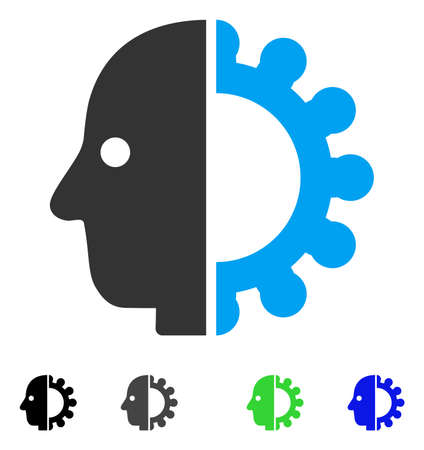 Cyborg Head flat vector pictogram. Colored cyborg head gray, black, blue, green pictogram versions. Flat icons on a white background. Illustration