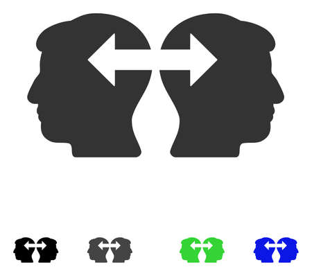 Heads Exchange Arrows flat vector pictograph. Flat icons on a white background. Çizim