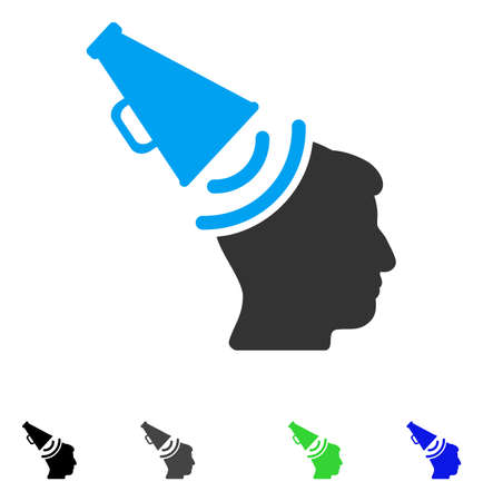 Propaganda Megaphone flat vector pictograph. Colored propaganda megaphone gray, black, blue, green icon versions. Flat icons on a white background.
