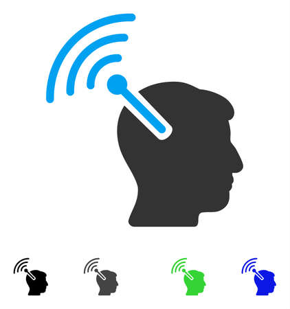 Radio Neural Interface flat vector pictograph. Colored radio neural interface gray, black, blue, green pictogram versions. Flat icons on a white background. Illustration