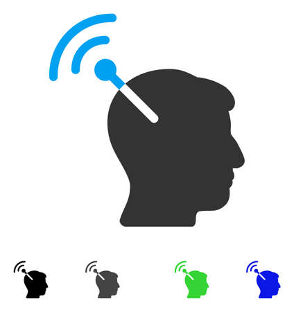 Radio Neural Interface flat vector pictogram. Colored radio neural interface gray, black, blue, green icon versions. Flat icons on a white background.