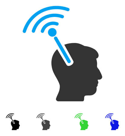 Radio Neural Interface flat vector pictograph. Flat icons on a white background. Illustration