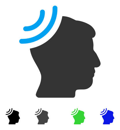 Radio Reception Brain flat vector illustration. Flat icons on a white background. Illustration