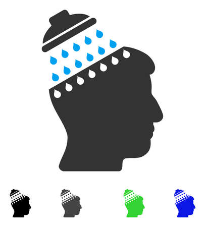 Brain Shower flat vector pictograph. Flat icons on a white background.