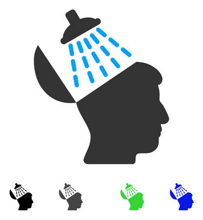 Brain Washing flat vector illustration. Flat icons on a white background.