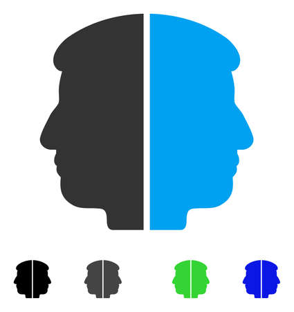 Dual Face flat vector pictograph. Colored dual face gray, black, blue, green pictogram versions. Flat icons on a white background.