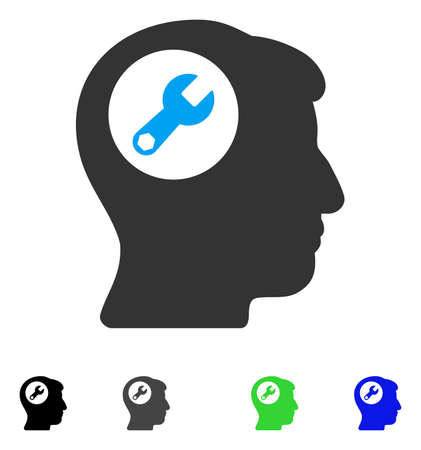 Head Wrench flat vector pictograph. Colored head wrench gray, black, blue, green icon versions. Flat icons on a white background.
