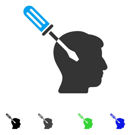 Intellect Screwdriver Tuning flat vector illustration. Flat icons on a white background. Illustration