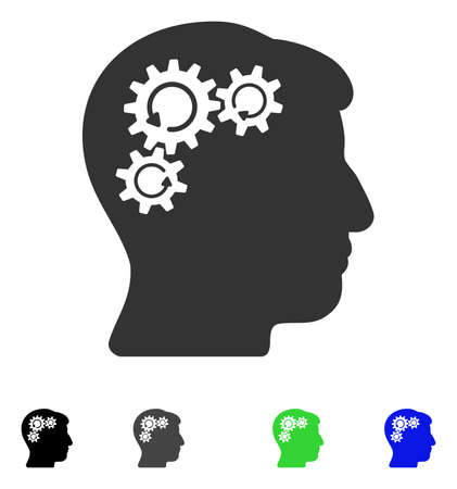 gray: Mind Gear Rotation flat vector illustration. Colored mind gear rotation gray, black, blue, green pictogram versions. Flat icons on a white background. Illustration