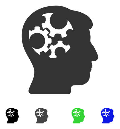 gray: Mind Gears flat vector illustration. Colored mind gears gray, black, blue, green pictogram versions. Flat icons on a white background. Illustration