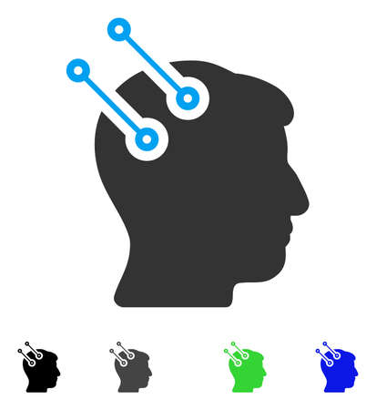 Neural Interface Connectors flat vector illustration. Colored neural interface connectors gray, black, blue, green icon versions. Flat icons on a white background.