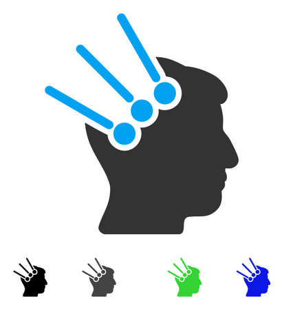 Neural Interface Connectors flat vector icon. Colored neural interface connectors gray, black, blue, green pictogram versions. Flat icons on a white background. Illustration
