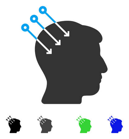 Neural Interface Connectors flat vector pictograph. Colored neural interface connectors gray, black, blue, green icon versions. Flat icons on a white background.