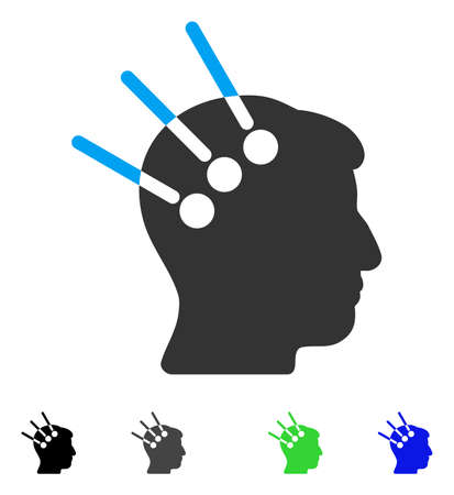 Neural Interface flat vector pictograph. Flat icons on a white background.