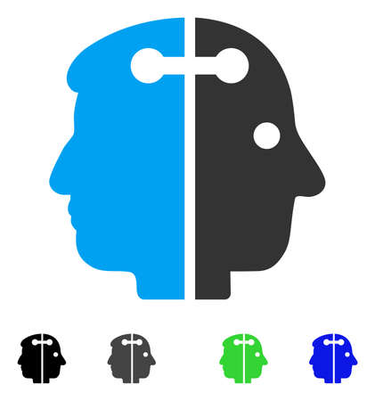 Dual Head Connection flat vector icon. Colored dual head connection gray, black, blue, green pictogram versions. Flat icons on a white background. Çizim