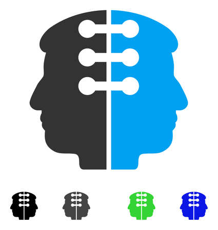 Dual Head Interface flat vector icon. Colored dual head interface gray, black, blue, green icon versions. Flat icons on a white background.