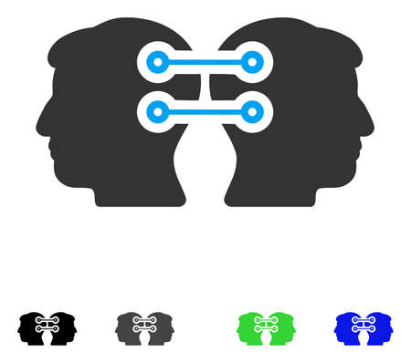 Dual Heads Interface Connection flat vector pictogram. Colored dual heads interface connection gray, black, blue, green pictogram versions. Flat icons on a white background.