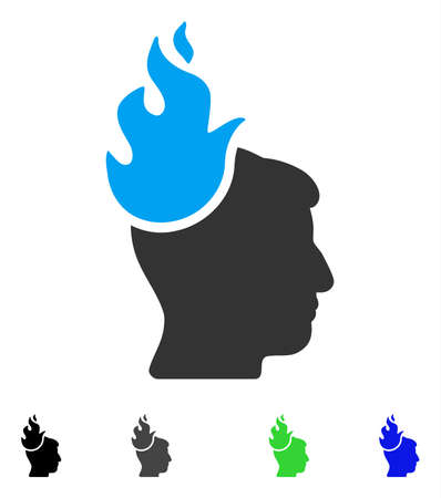 gray: Fired Head flat vector icon. Colored fired head gray, black, blue, green icon versions. Flat icons on a white background.