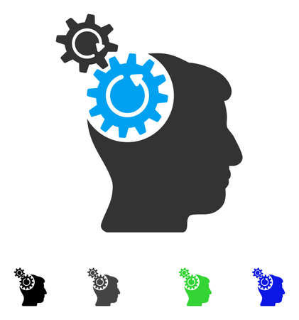 Head Cogs Rotation flat vector illustration. Colored head cogs rotation gray, black, blue, green pictogram versions. Flat icons on a white background.