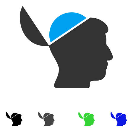 Open Brain flat vector pictogram. Colored open brain gray, black, blue, green pictogram versions. Flat icons on a white background.