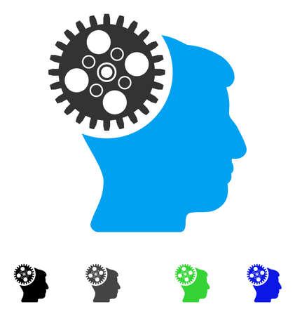 gray: Head Gearwheel flat vector pictogram. Colored head gearwheel gray, black, blue, green pictogram versions. Flat icons on a white background.