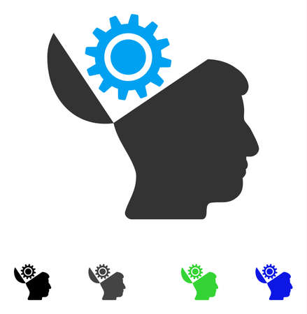 sculp: Open Head Gear flat vector illustration. Colored open head gear gray, black, blue, green icon versions. Flat icons on a white background. Illustration