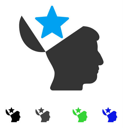 Open Head Star flat vector illustration. Flat icons on a white background.