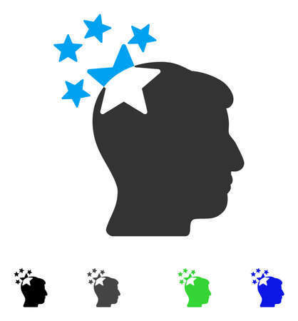 ruch: Stars Hit Head flat vector icon. Colored stars hit head gray, black, blue, green pictogram versions. Flat icons on a white background.