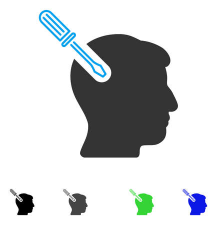 Head Surgery Screwdriver flat vector pictograph. Flat icons on a white background.