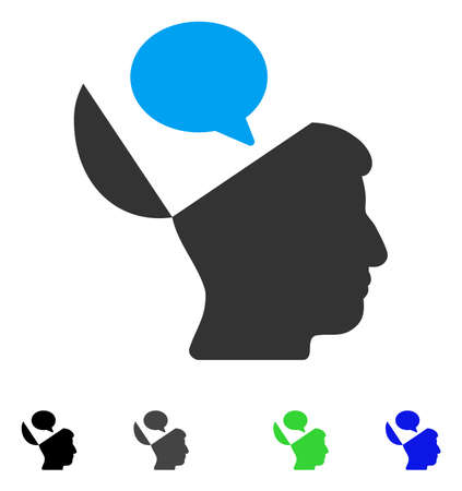 Open Mind Opinion flat vector illustration. Colored open mind opinion gray, black, blue, green pictogram versions. Flat icons on a white background.