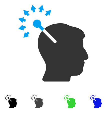 Optical Neural Interface flat vector icon. Colored optical neural interface gray, black, blue, green pictogram versions. Flat icons on a white background.