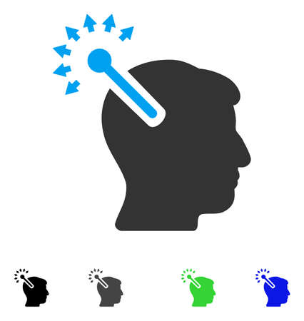 Optical Neural Interface flat vector pictograph. Colored optical neural interface gray, black, blue, green icon versions. Flat icons on a white background. Illustration