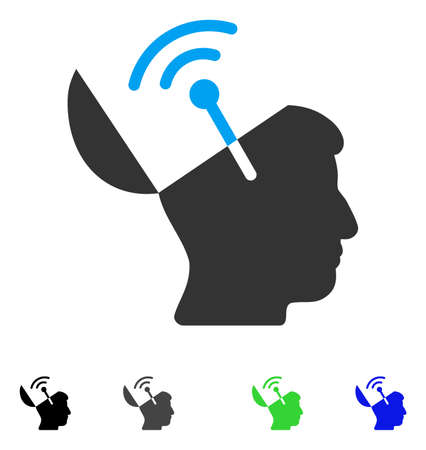 Open Mind Radio Interface flat vector icon. Colored open mind radio interface gray, black, blue, green pictogram versions. Flat icons on a white background. Illustration