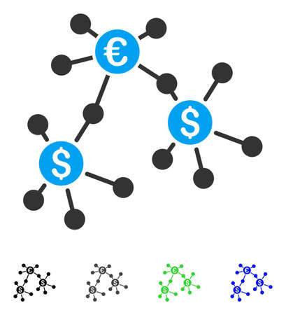 Financial Networks flat vector pictogram. Colored financial networks gray, black, blue, green icon variants. Flat icon style for graphic design.