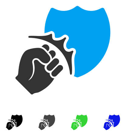 Fist Strike Shield flat vector icon. Colored fist strike shield gray, black, blue, green icon variants. Flat icon style for web design.