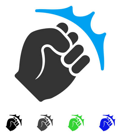 Fist Strike flat vector pictogram. Colored fist strike gray, black, blue, green pictogram versions. Flat icon style for graphic design. Illustration