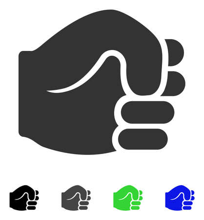 gray: Fist flat vector pictogram. Colored fist gray, black, blue, green pictogram versions. Flat icon style for application design.