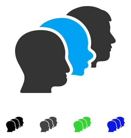 Client Profiles flat vector pictograph. Colored client profiles gray, black, blue, green pictogram versions. Flat icon style for graphic design.