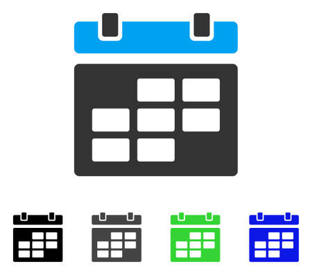 Calendar flat vector icon. Colored calendar gray, black, blue, green icon variants. Flat icon style for application design. Illustration